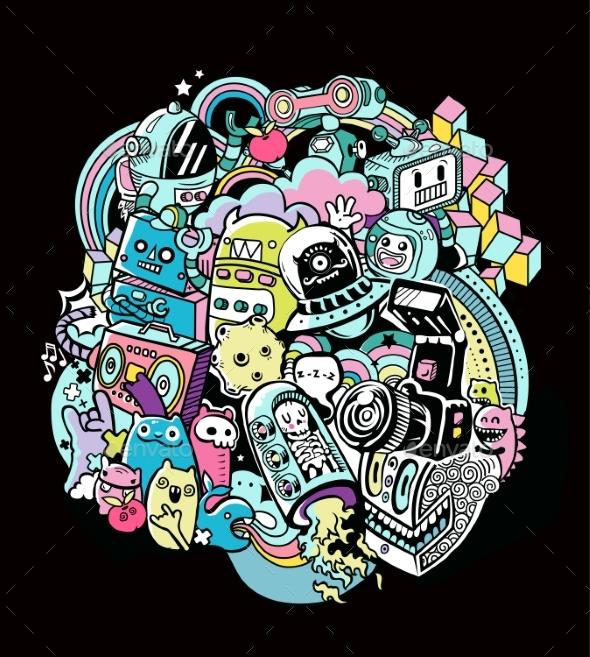Doodle Robots - Miscellaneous Vectors