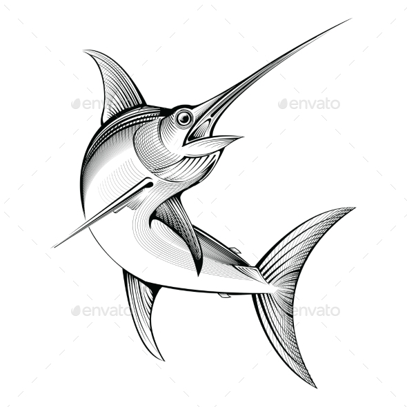 Vector Swordfish Engraving Illustration - Animals Characters
