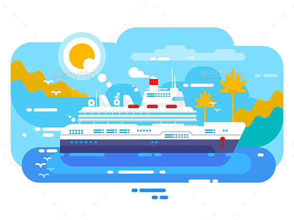 Cruise Ship in Sea Design Flat - Miscellaneous Vectors