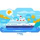 Cruise Ship in Sea Design Flat
