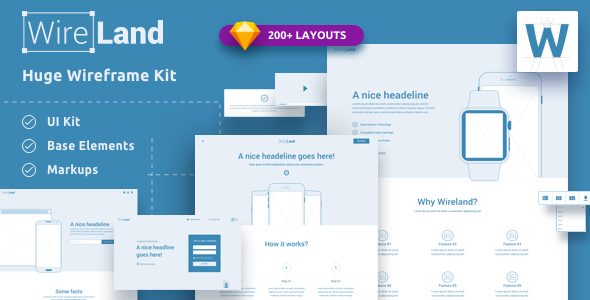 Wireland Wireframe Library For Web Design Projects Sketch