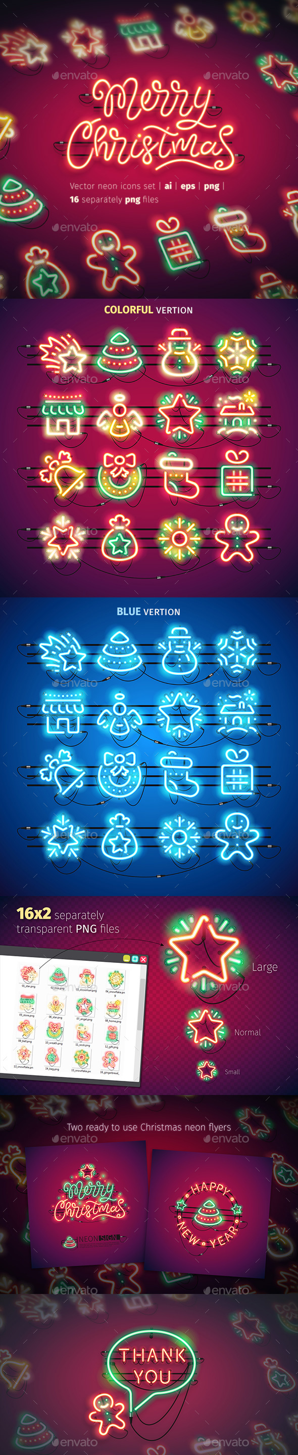 GraphicRiver Christmas Colorful Neon Icons 20942275