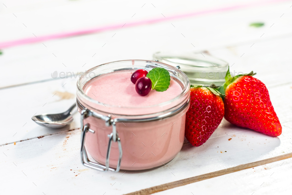 Homemade strawberry mousse - Stock Photo - Images