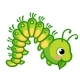 Vector Illustration of a Caterpillar Eating