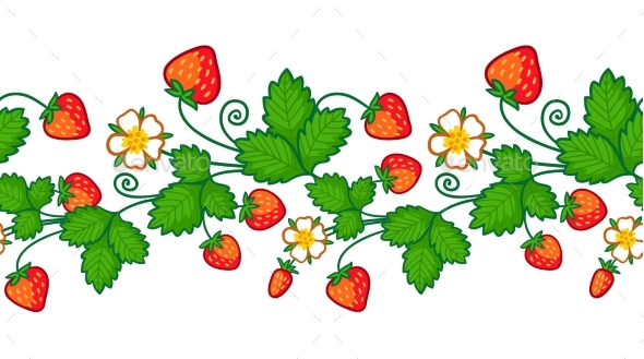 Pattern with a Strawberry Plant - Flowers & Plants Nature