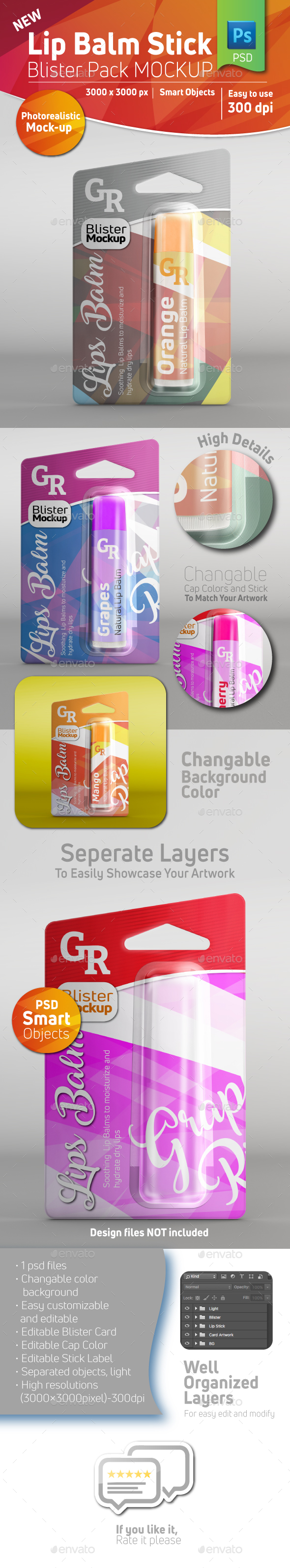 GraphicRiver Lip Balm Blister Pack Mockup With Stick Inside 20942416
