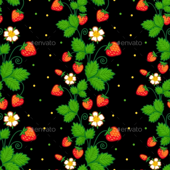 Seamless Vector Illustration with of Strawberries - Flowers & Plants Nature