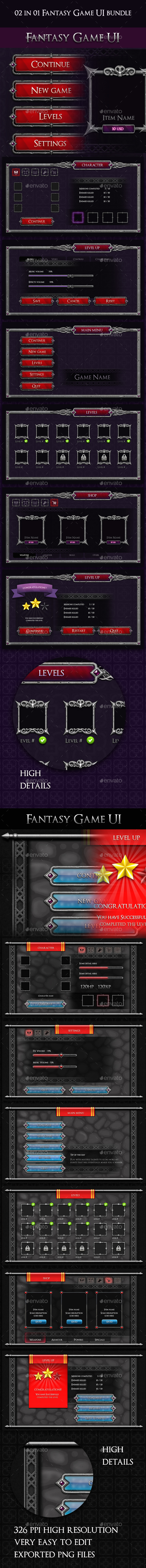 02 in 01 Fantasy Game UI Bundle - User Interfaces Game Assets