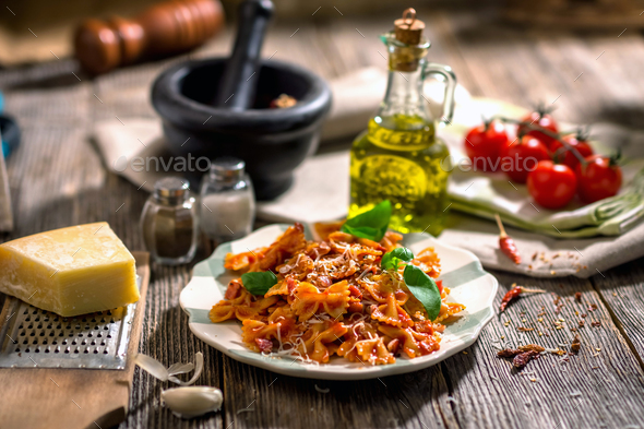 Pasta with tomato sauce - Stock Photo - Images