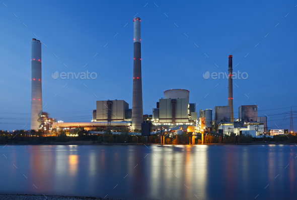 Coal Power Station At River - Stock Photo - Images
