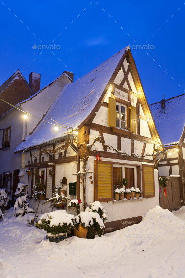 Little Christmassy House At Night With Snow - Stock Photo - Images