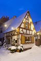 Little Christmassy House At Night With Snow