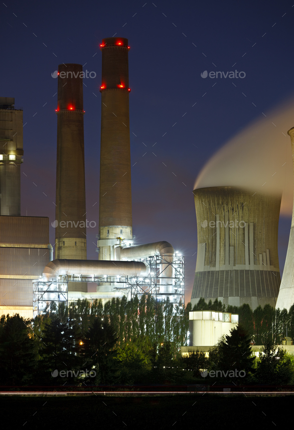Brown Coal Power Station Detail At Night - Stock Photo - Images