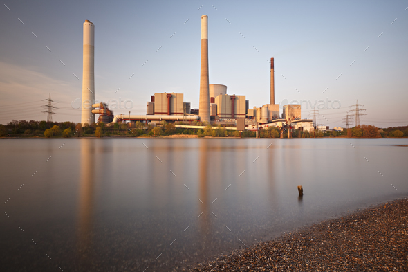 Power Station At River Long Exposure - Stock Photo - Images
