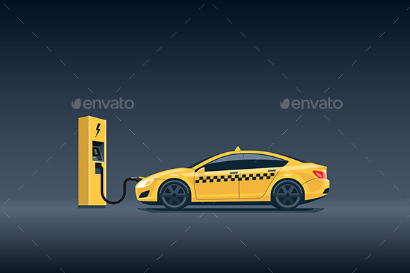 Yellow Electric Taxi Car Charging at the Charging Station