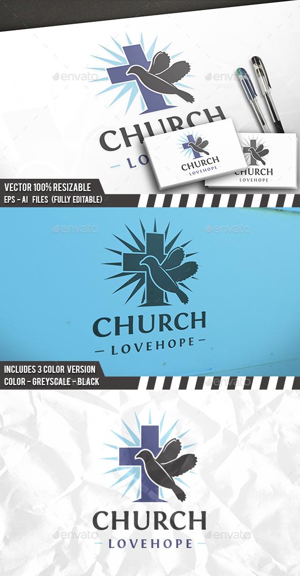 Dove Cross Hope Logo - Symbols Logo Templates