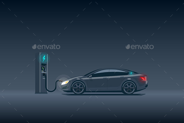Modern Luxury Electric Car Charging at the Charging Station - Man-made Objects Objects