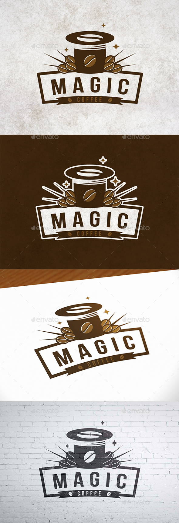 Magic Coffee Logo Template - Crests Logo Templates