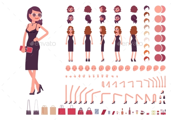 Girl in Evening Dress Character Creation Set - People Characters