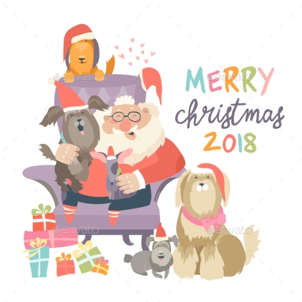 Santa Claus Sitting in Armchair with Dogs - Christmas Seasons/Holidays