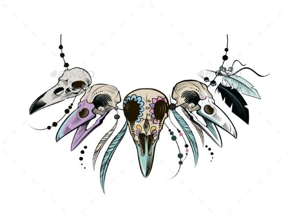 Raven Sugar Mexican Skull - Animals Characters