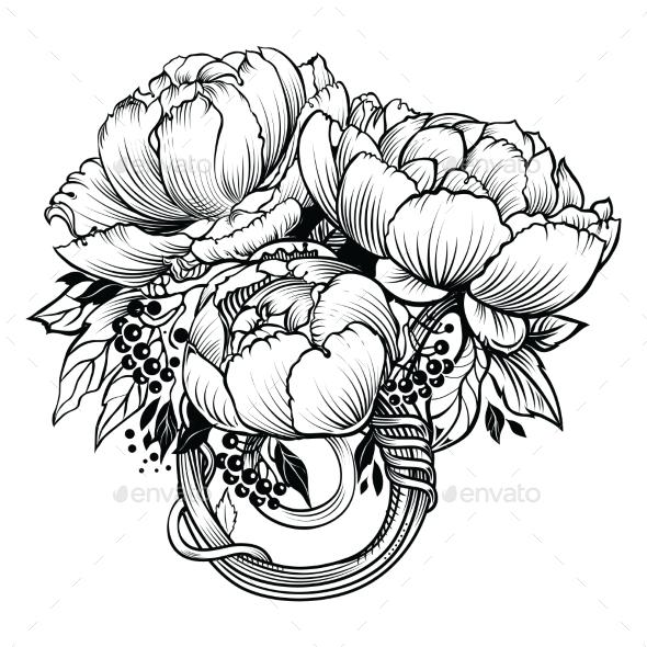 Vector Peony Flowers - Flowers & Plants Nature