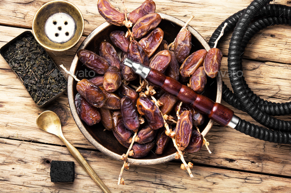 oriental nargile with dates - Stock Photo - Images