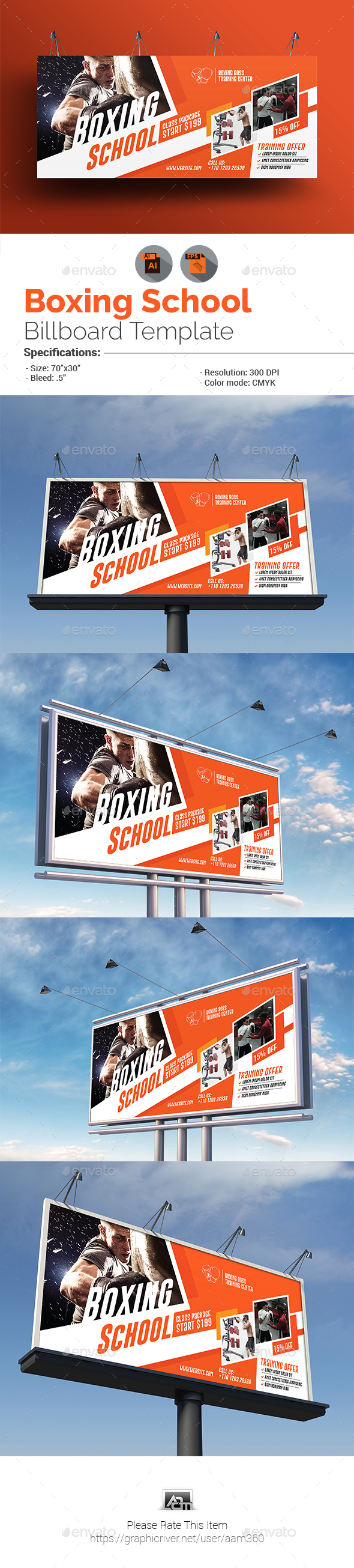 Boxing School Billboard Template - Signage Print Templates