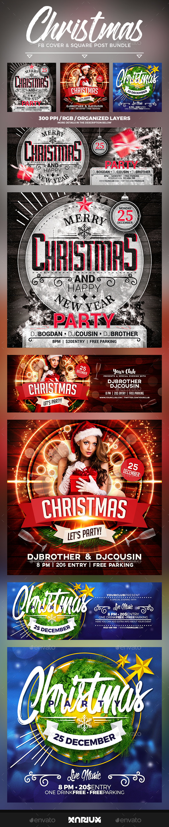 Christmas Party Facebook Cover Bundle - Social Media Web Elements