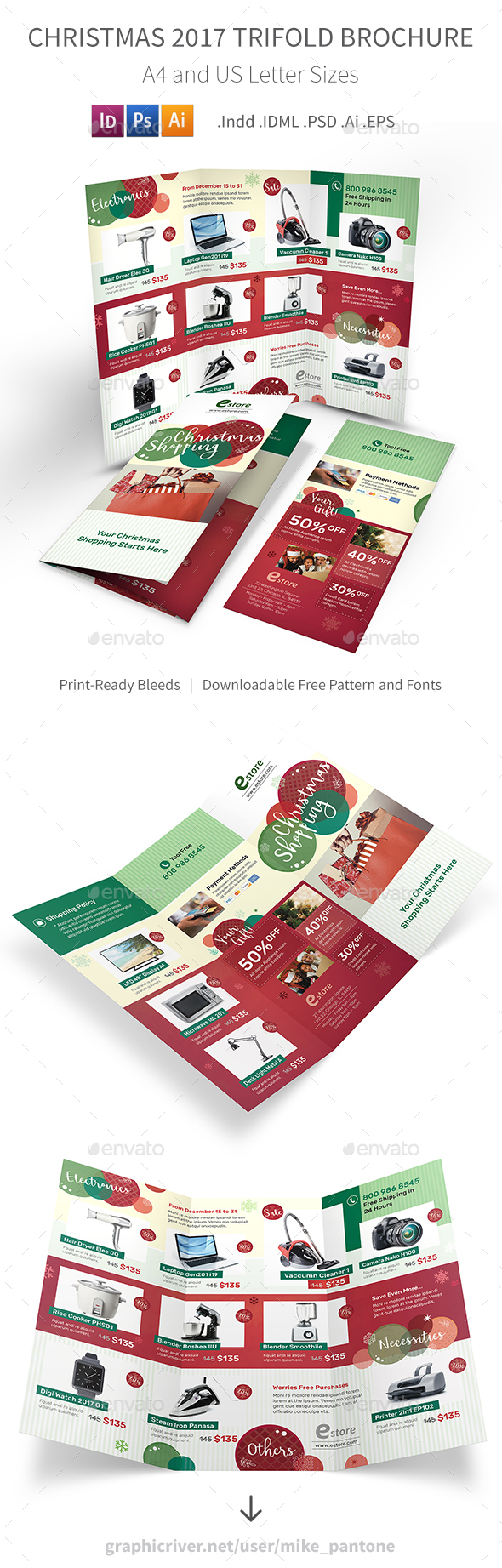 GraphicRiver Christmas 2017 Trifold Brochure 20944377