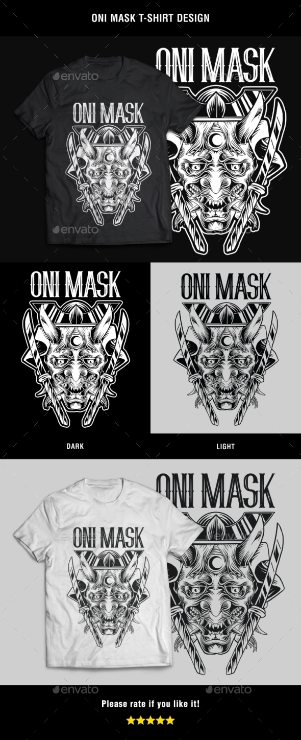 GraphicRiver Oni Mask T-Shirt Design 20944393