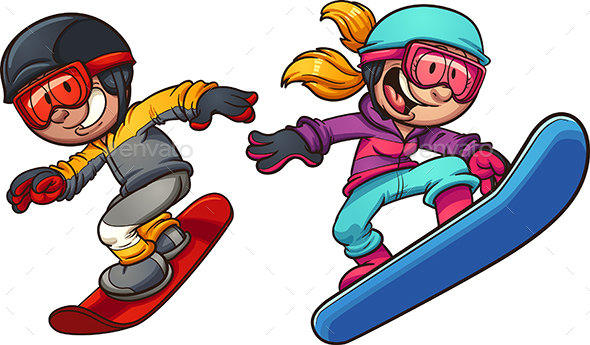 snowboard kids by memoangeles graphicriver rh graphicriver net snowboarding clipart black and white snowboarding clipart black and white