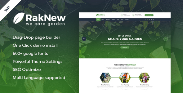 RakNew - Gardening and Landscaping WordPress Theme - Business Corporate