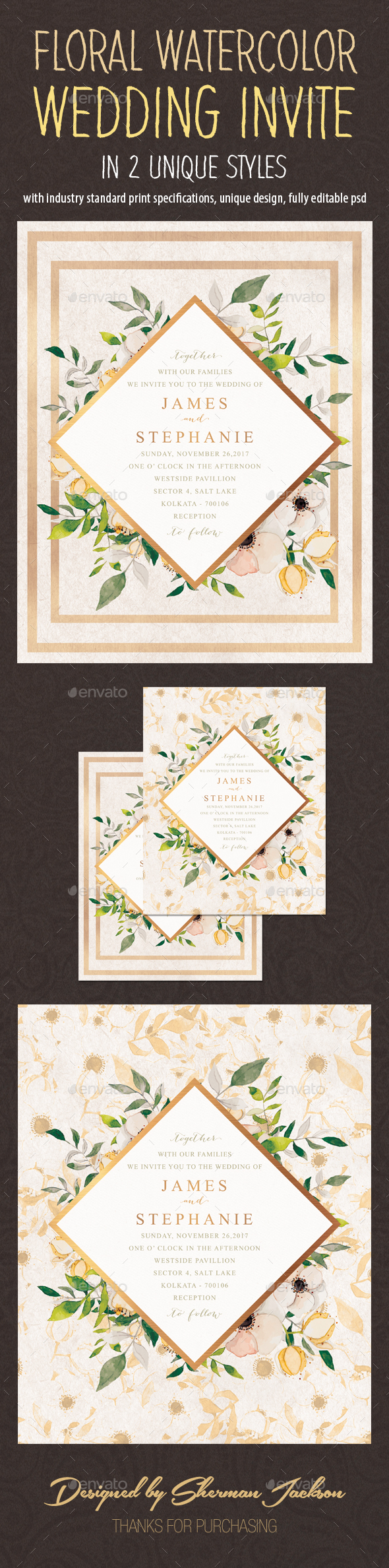 GraphicRiver Floral Watercolor Wedding Invitation Card 20945156