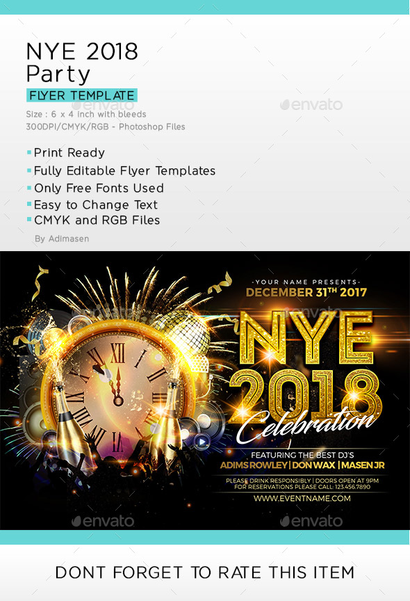 NYE 2018 Flyer Template - Clubs & Parties Events