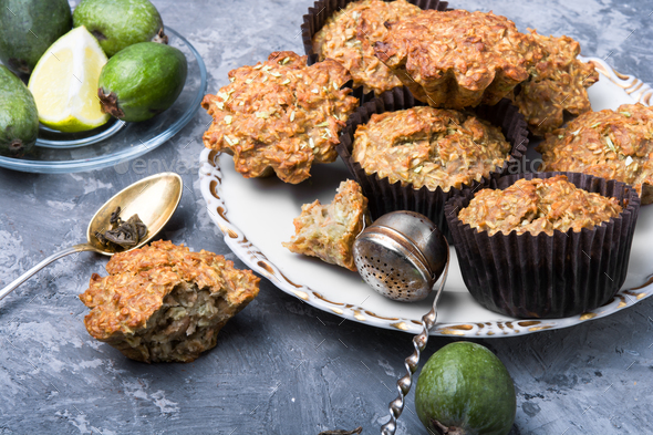 muffin with feijoa - Stock Photo - Images