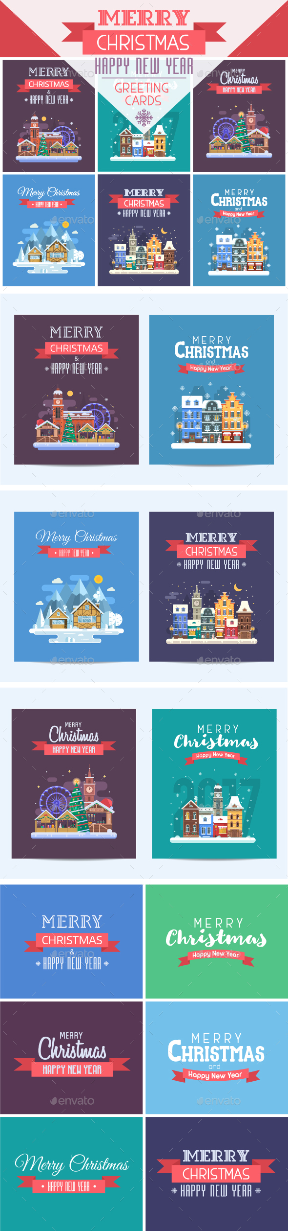 New Year and Christmas Cards with Europe Cities - Christmas Seasons/Holidays