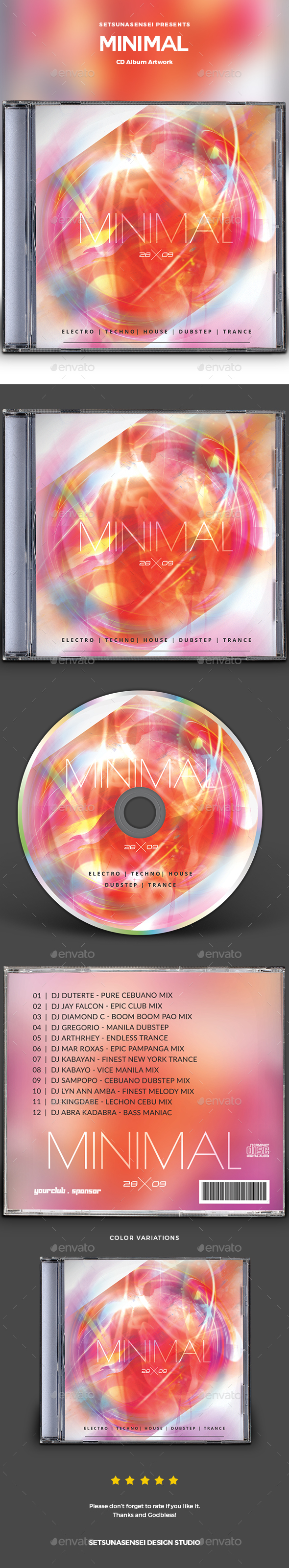 Minimal CD Album Artwork - CD & DVD Artwork Print Templates