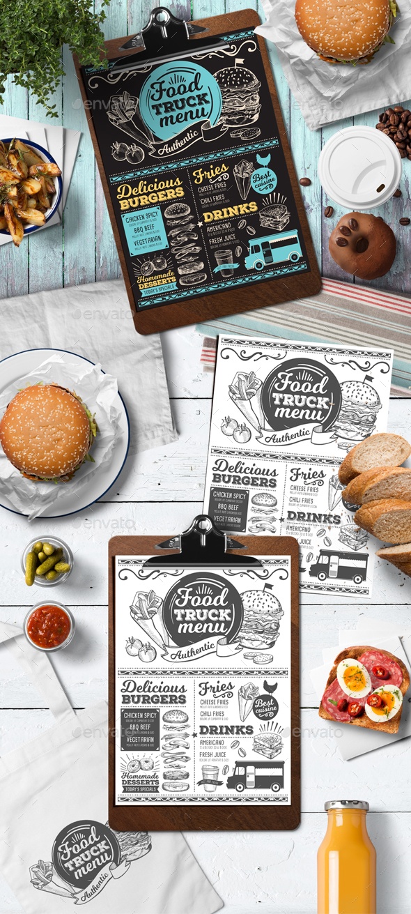 Food Truck Menu - Food Menus Print Templates