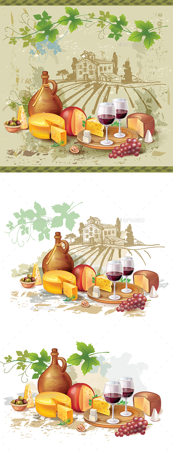 Still Life of Wine Cheese and Grapes - Food Objects