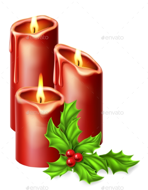 Christmas Candles and Holly - Christmas Seasons/Holidays