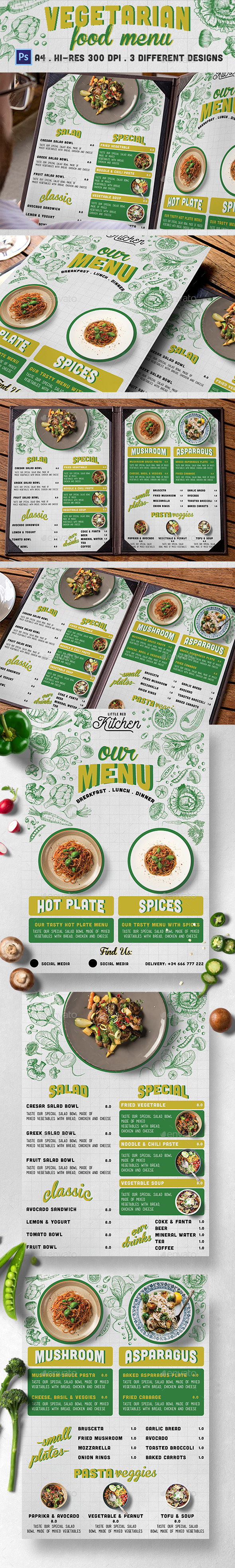 Vegetarian Restaurant Menu - Food Menus Print Templates