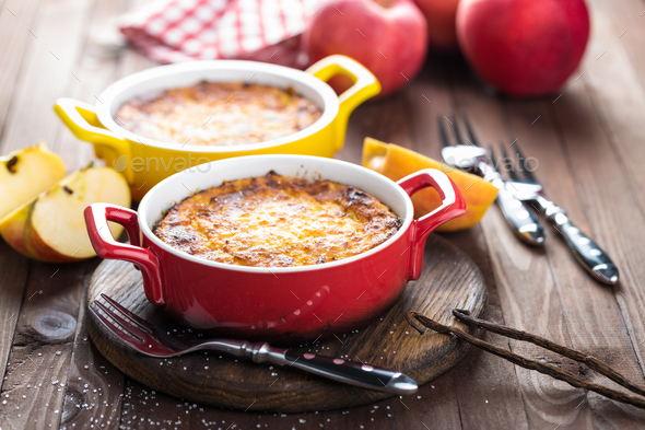 Cottage cheese casserole, sweet breakfast - Stock Photo - Images