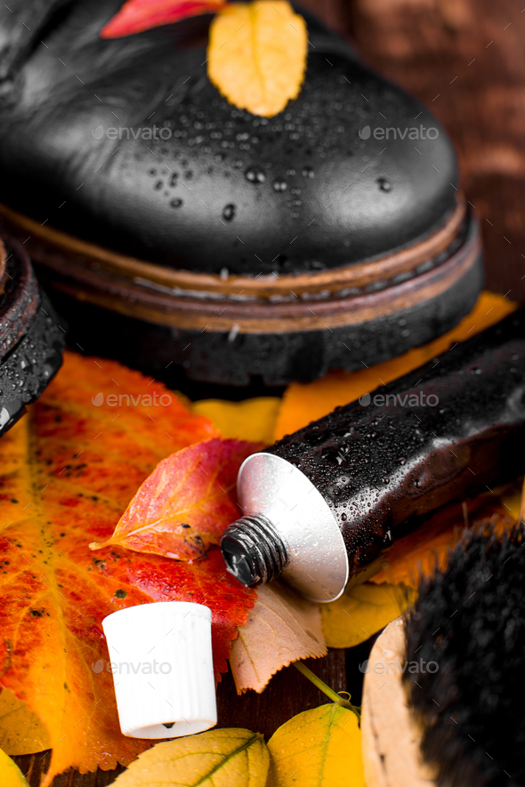 Waterproof  Black boots - Stock Photo - Images