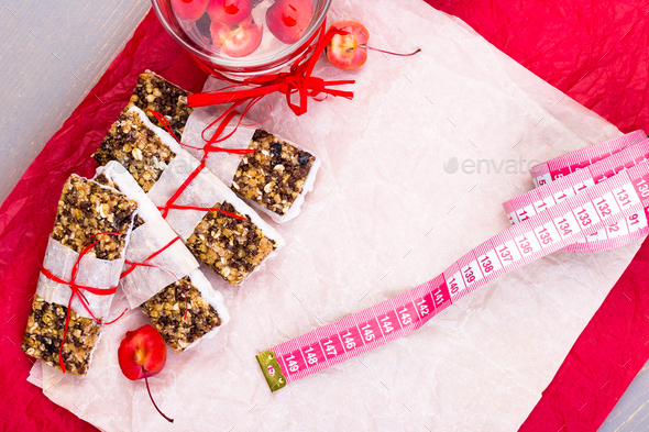 Diet muesli bars  - Stock Photo - Images