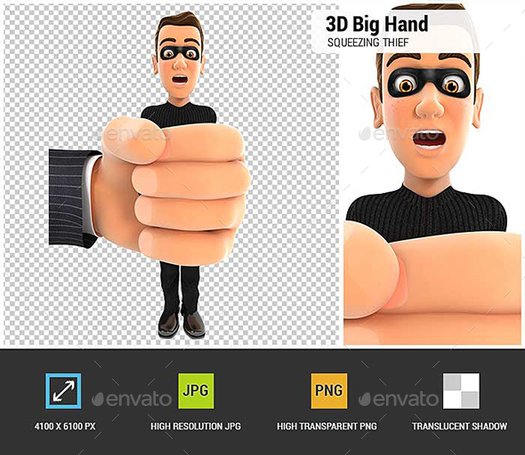 3D Big Hand Squeezing Thief - Characters 3D Renders