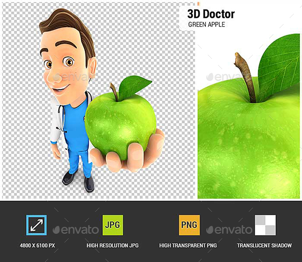 GraphicRiver 3D Doctor Holding Green Apple 20947677