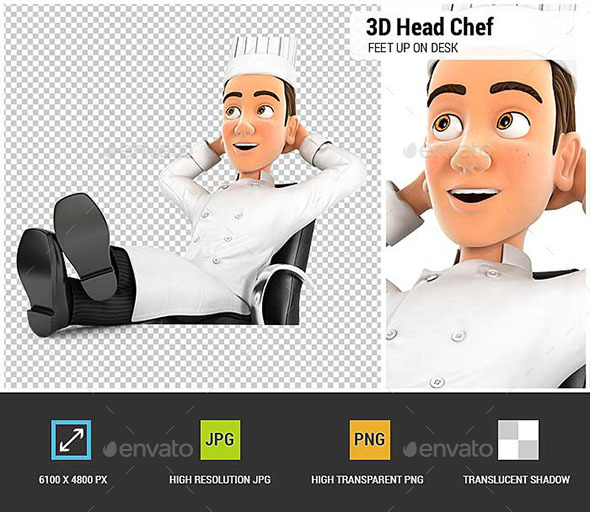 3D Head Chef Relaxing with Feet Up on his Desk - Characters 3D Renders
