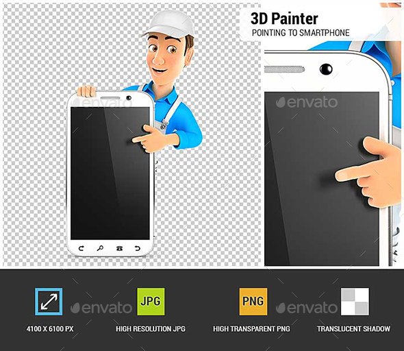 GraphicRiver 3D Painter Pointing to Blank Smartphone 20947689