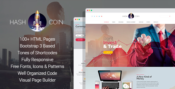 HashCoin Plus - Bitcoin Crypto Currency HTML template with Page Builder